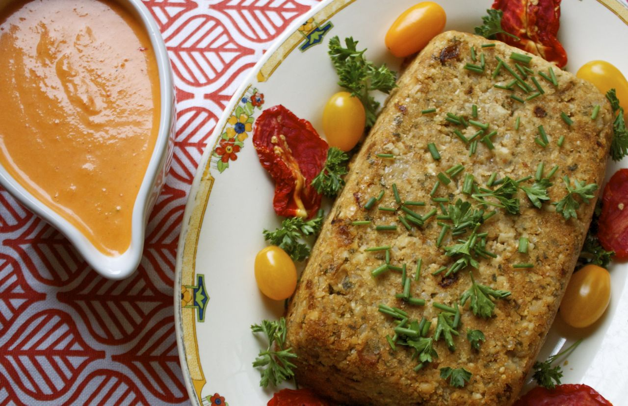 Cashew Rice Loaf & Red Pepper Cheese Sauce | in pursuit of ...