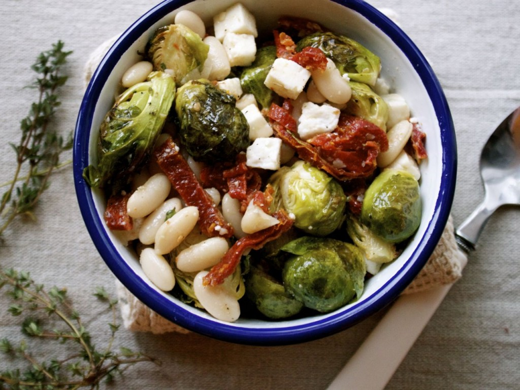 Thyme Roasted Brussels Sprouts & Cannellini Beans