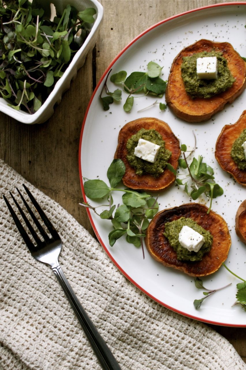 Spring Nettle Pesto with Roasted Yam & Feta | In Pursuit of More