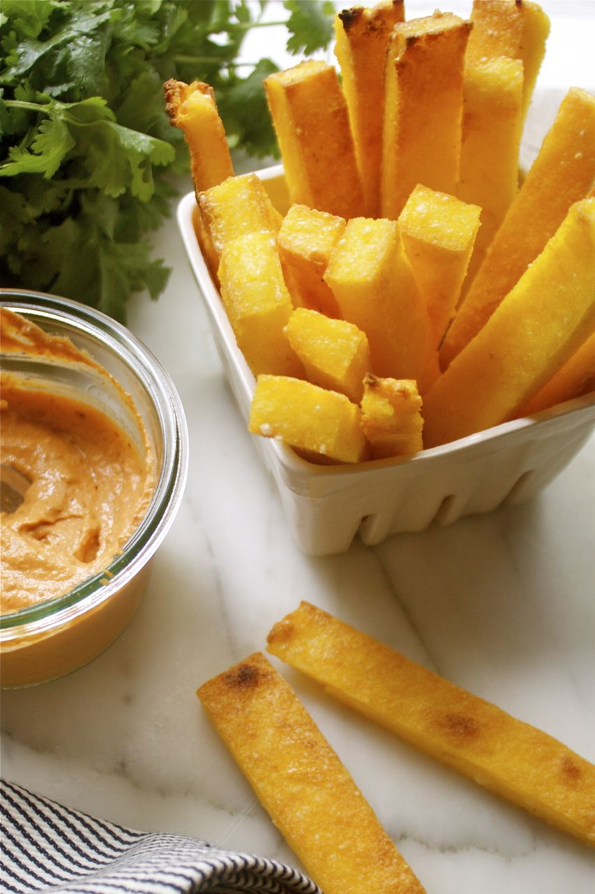 Parmesan Polenta Fries & Chipotle Nut Dip | In Pursuit of More
