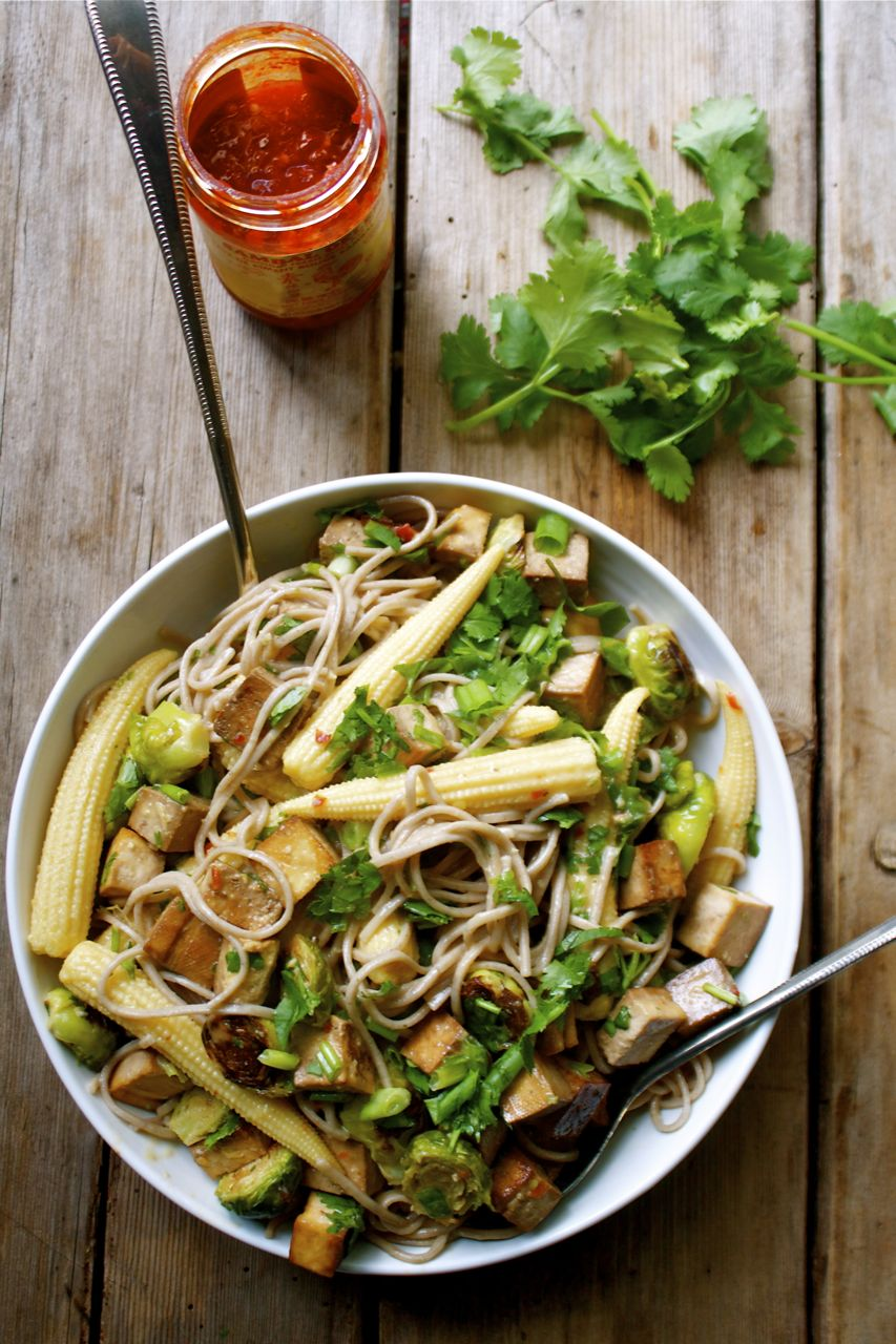 Baked Tofu & Brussels Sprout Soba With A Miso Lime Dressing | in ...