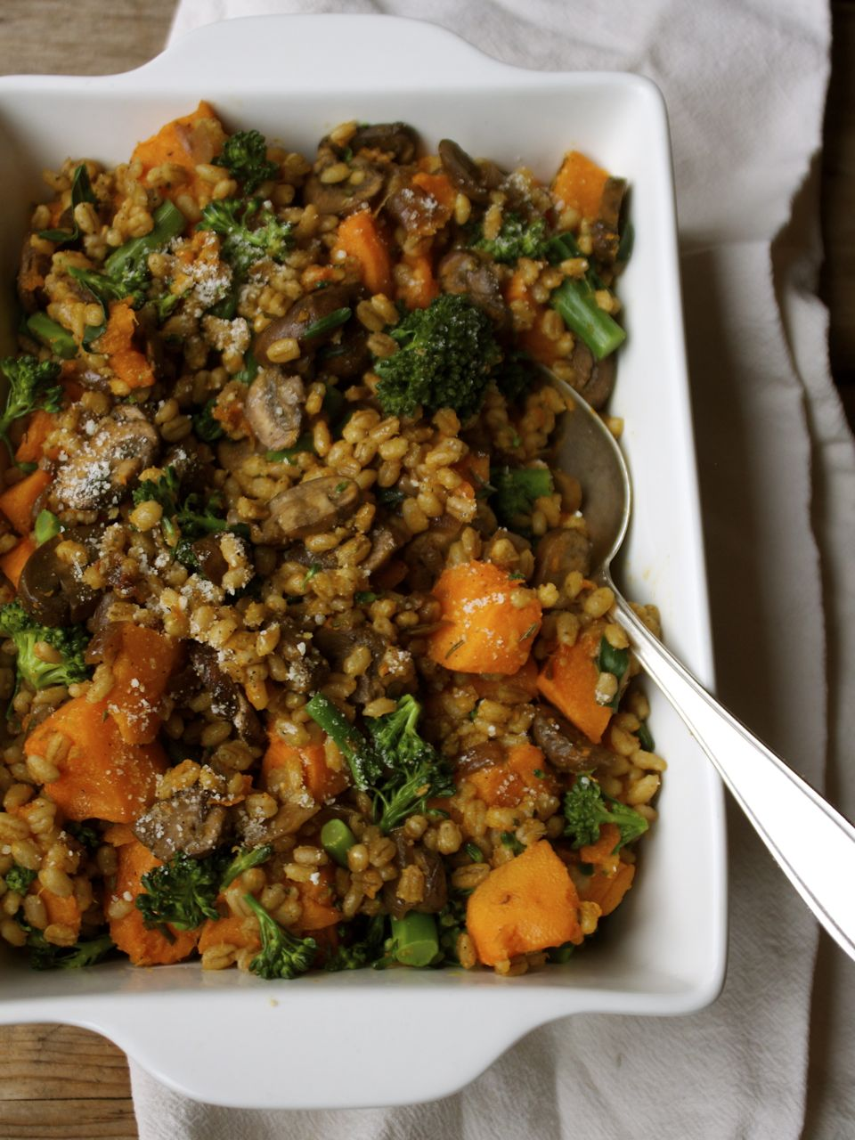 Mushroom Barley Pilaf with Roasted Squash & Rosemary