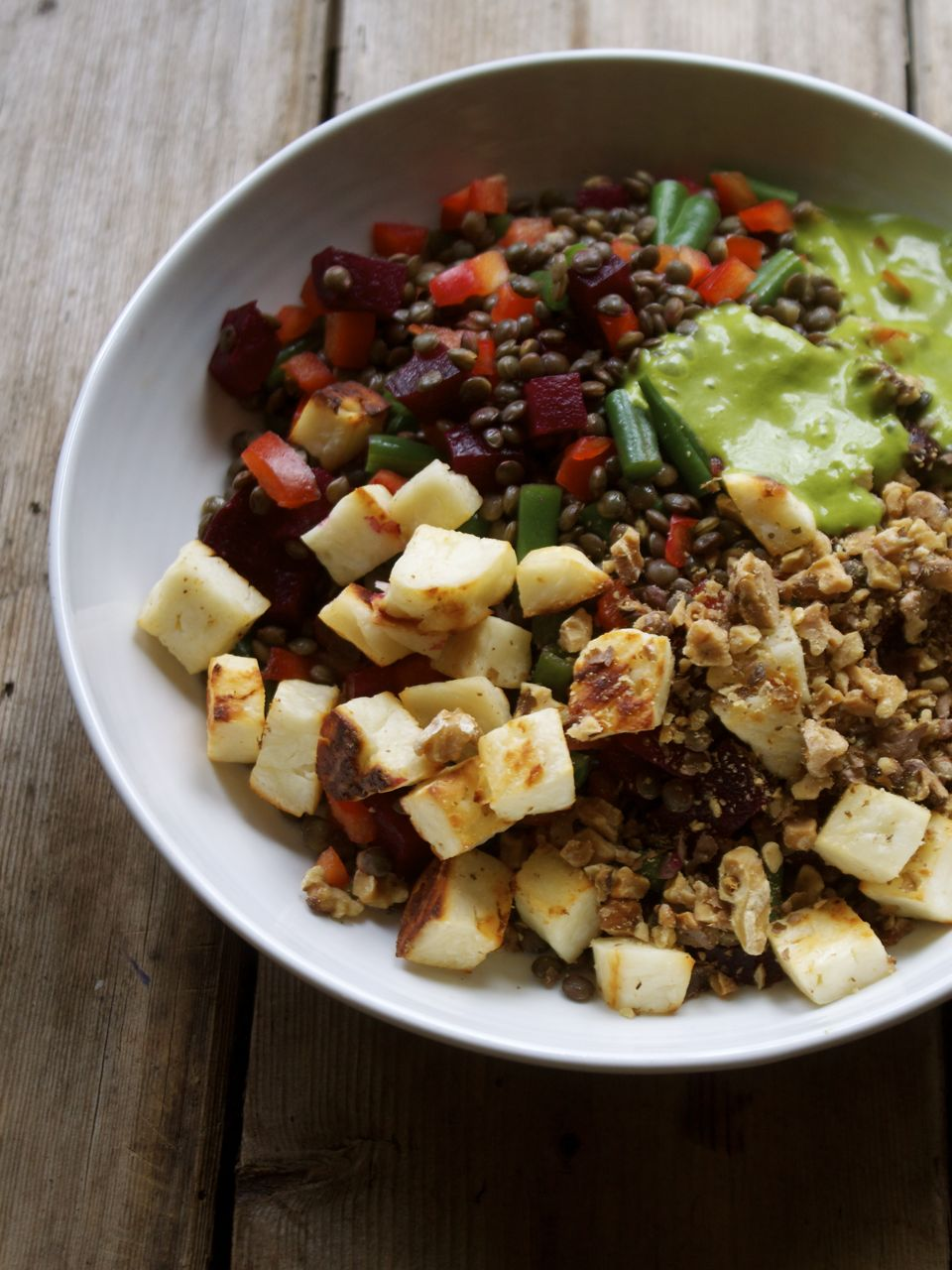 FRENCH LENTIL SALAD WITH HALOUMI CROUTONS