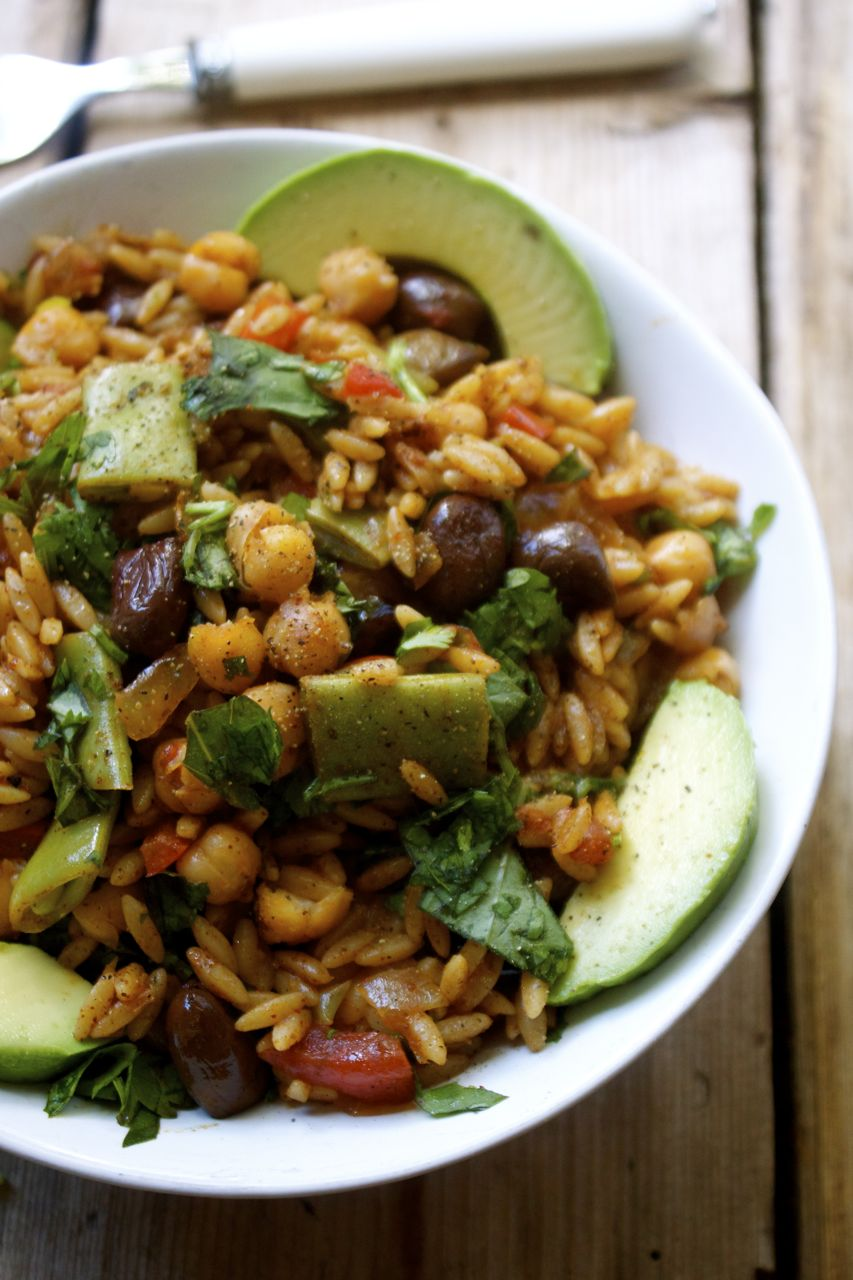 Chickpea, Olive & Orzo Paella with Scarlett Runner Beans