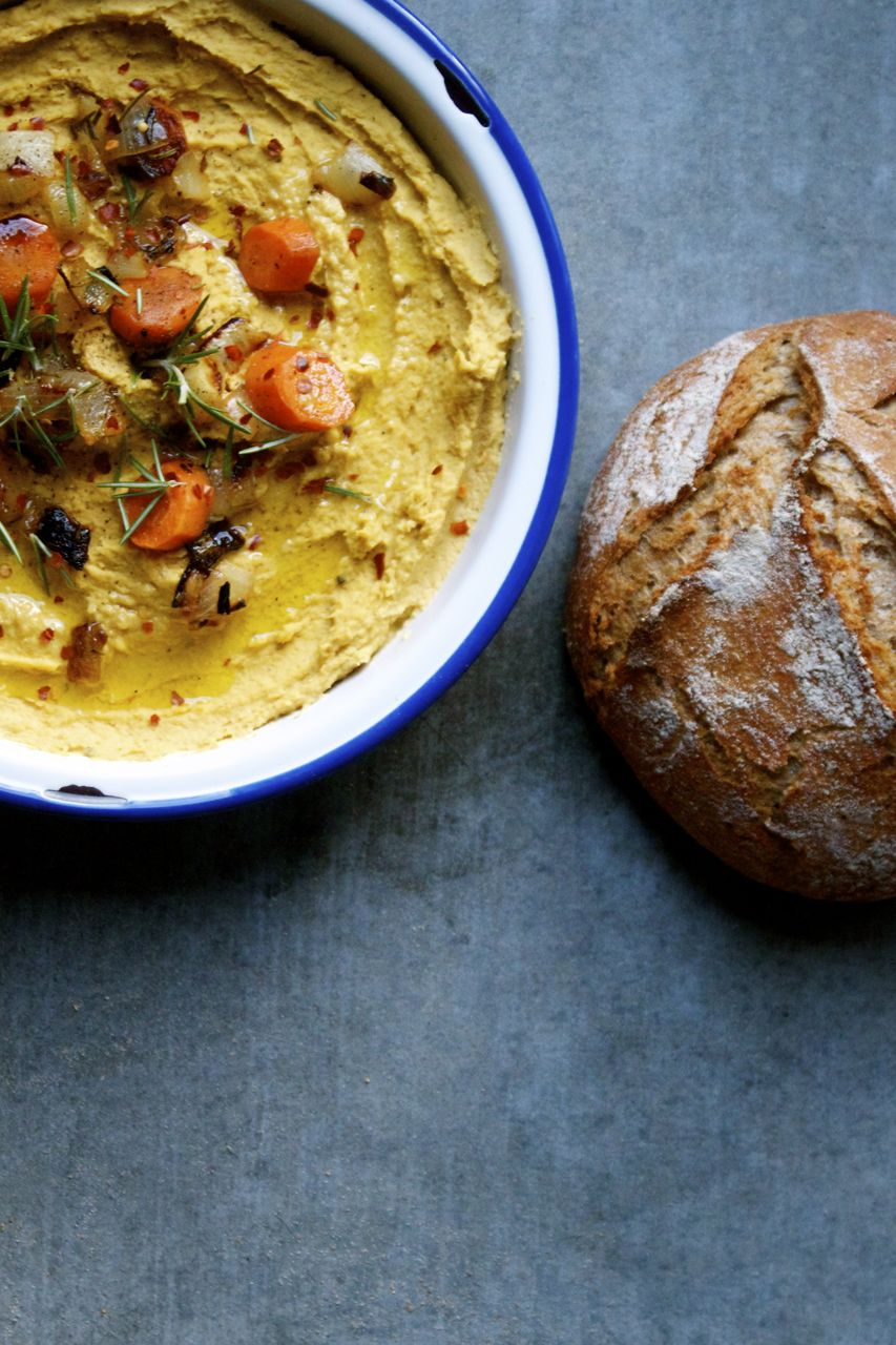 Roasted Carrot Rosemary Hummus + Whole Wheat Bread