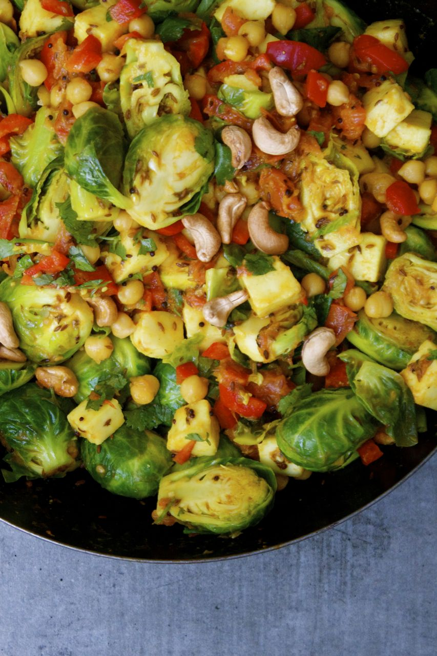 Sautéed Brussels Sprouts, Paneer + Chickpea Curry