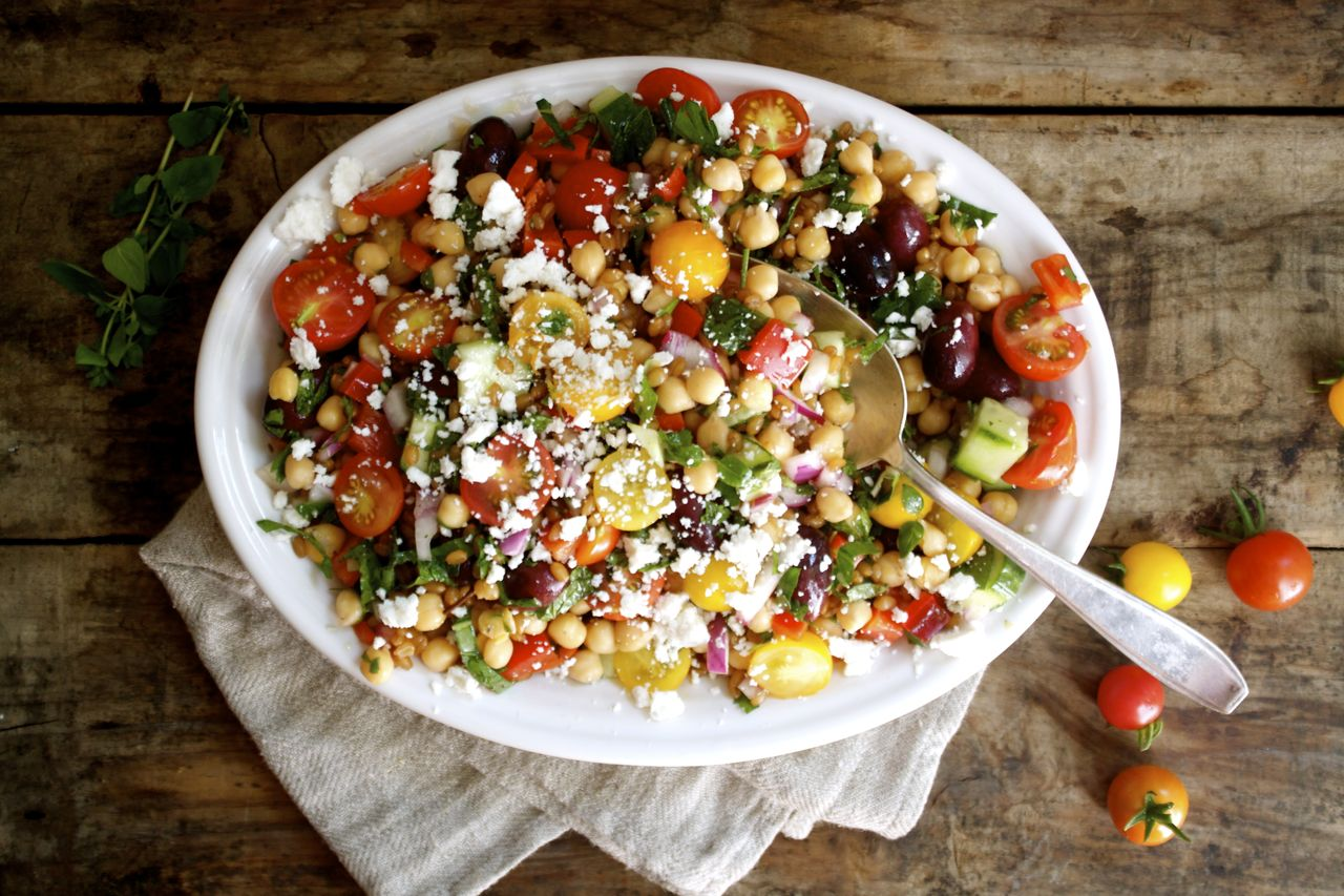 Potluck Greek Wheat Berry + Chickpea Salad