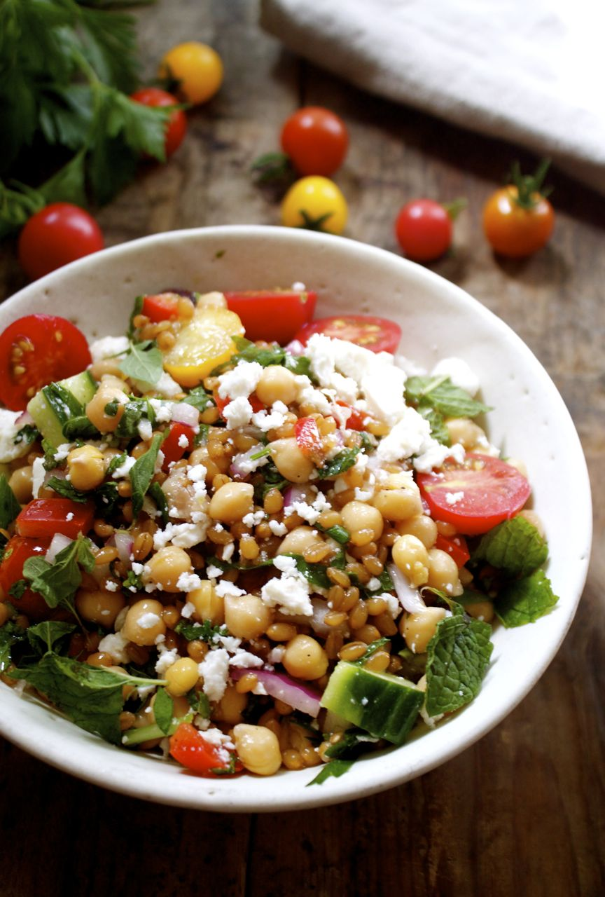Potluck Greek Wheat Berry + Chickpea Salad | in pursuit of more