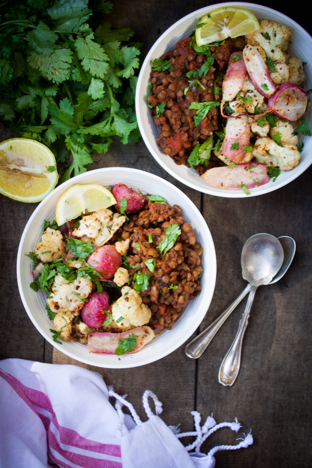 Richa's Masala Lentils w/ Roasted Cauliflower + Radishes