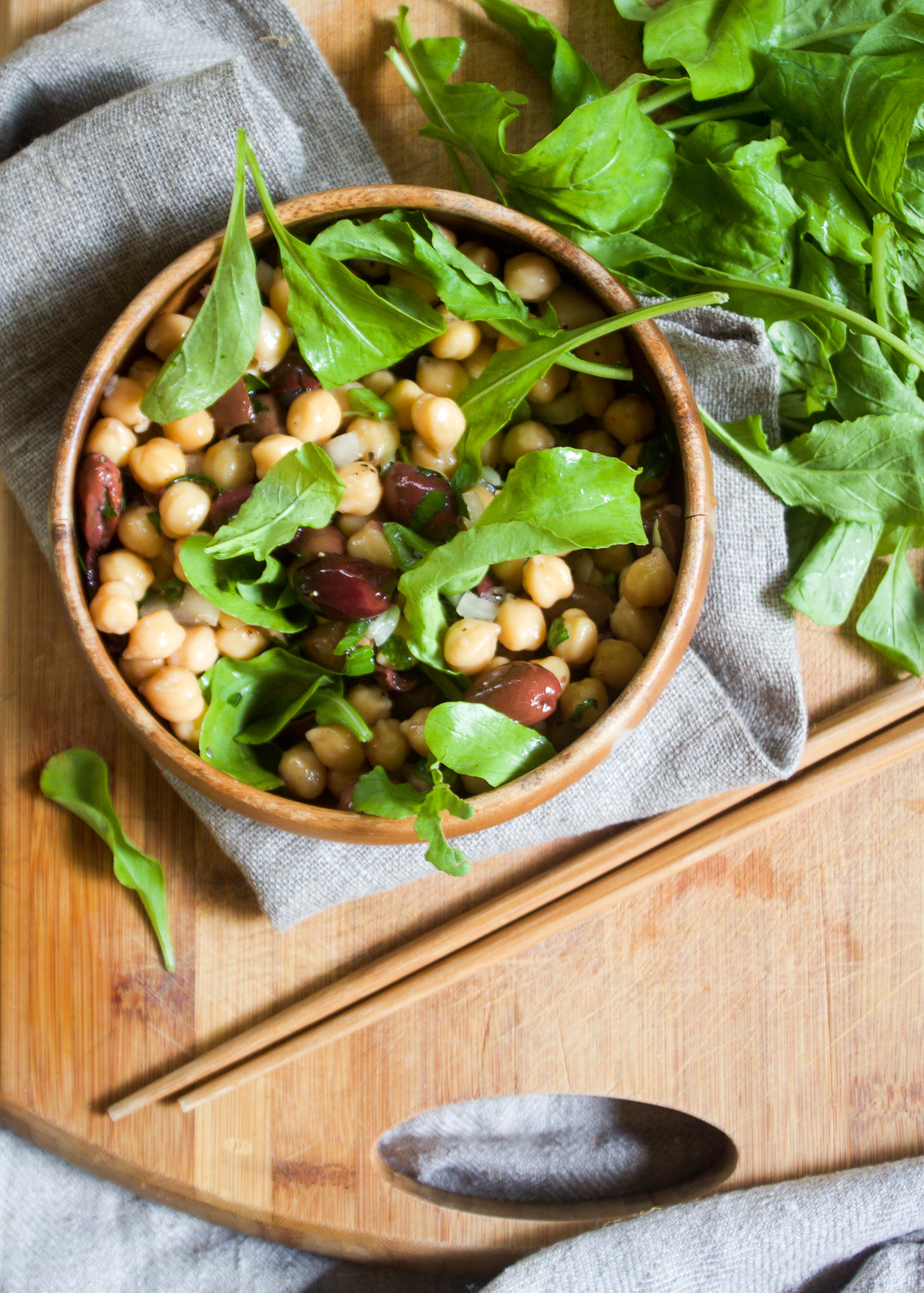 Chickpea Salad with Sweet Onion, Arugula + Olives