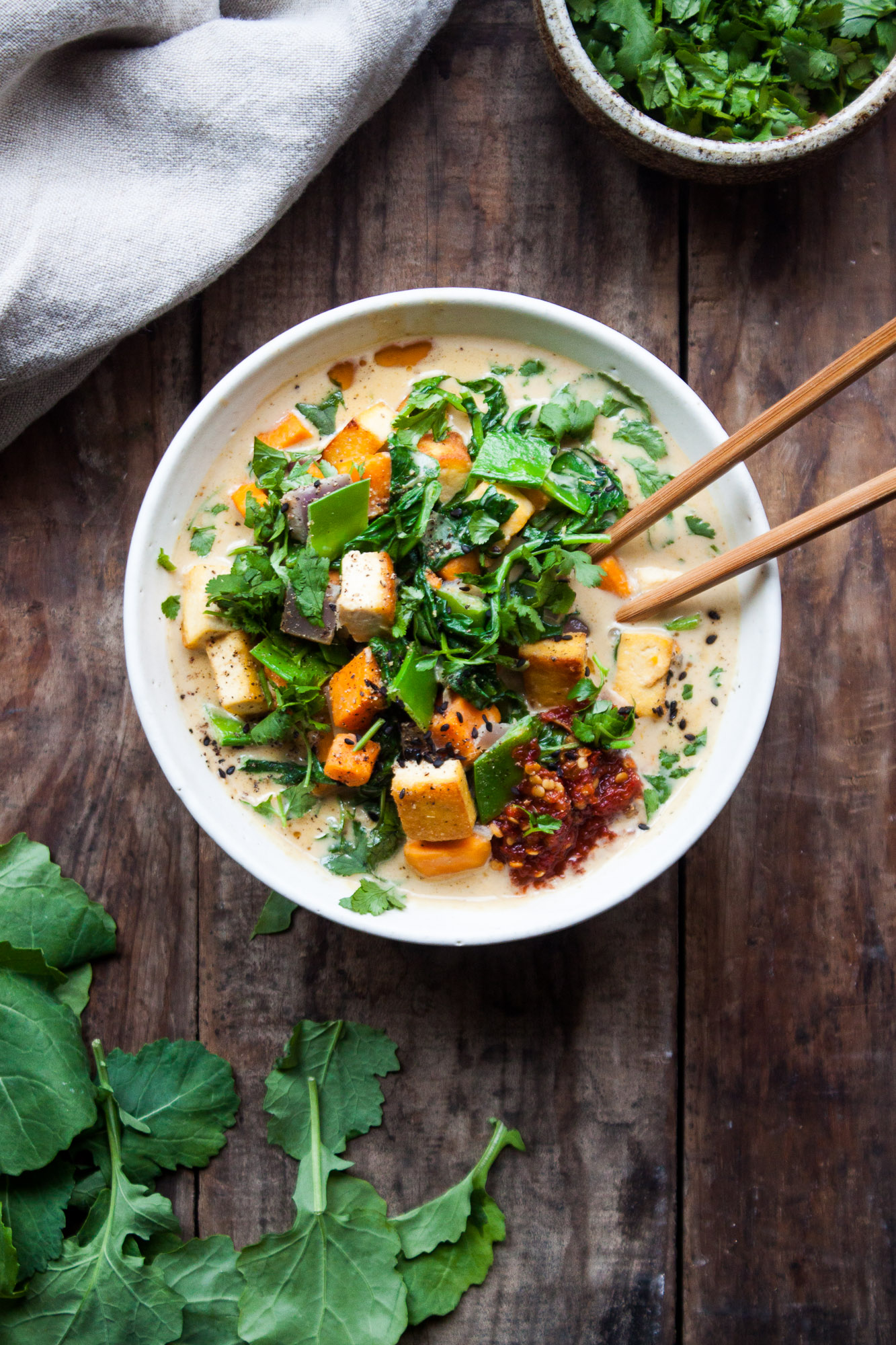 Sweet Potato + Kale Green Curry with Tofu