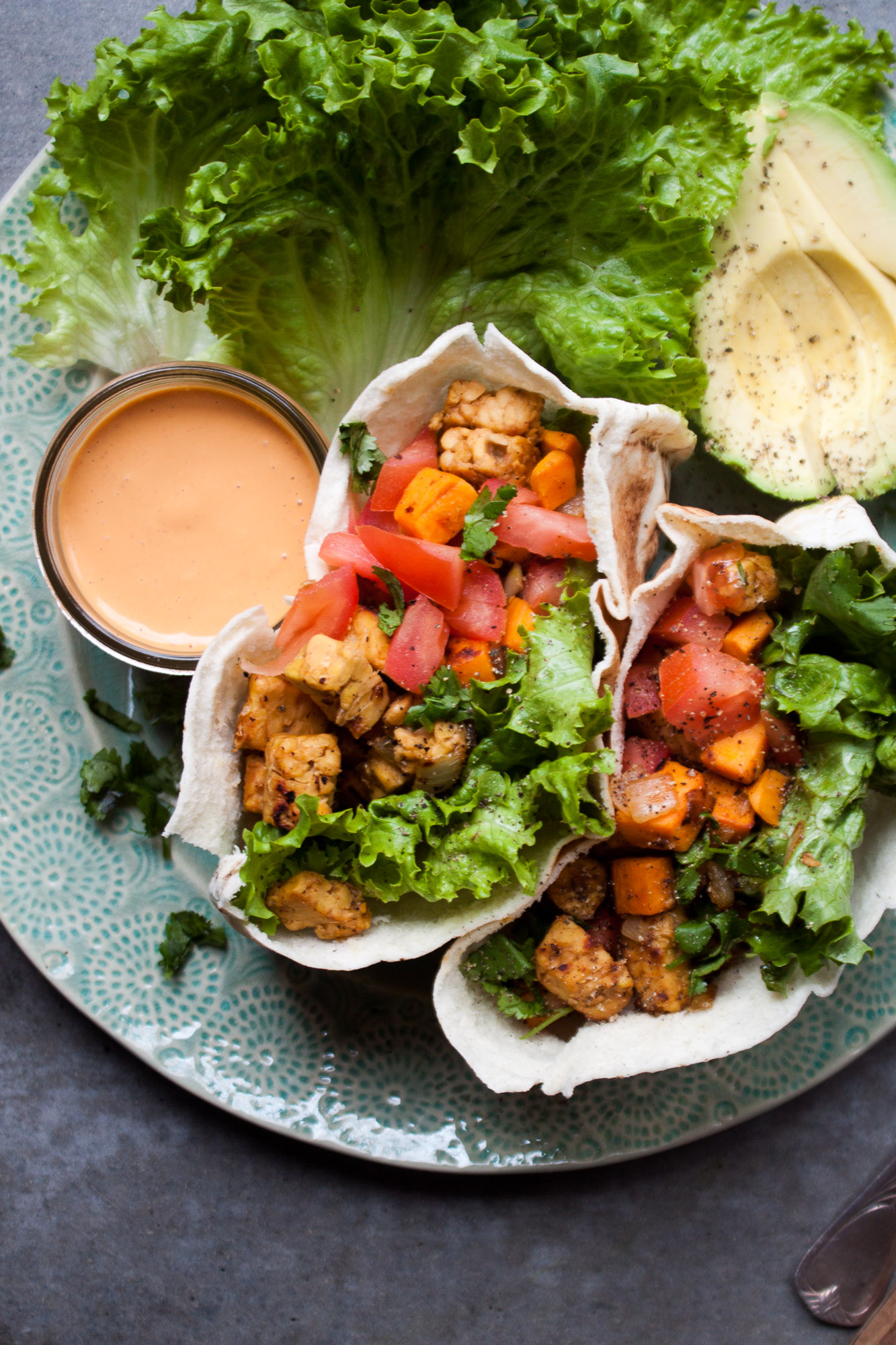 Tempeh + Sweet Potato Stuffed Pita w/ Cashew Chipotle Sauce