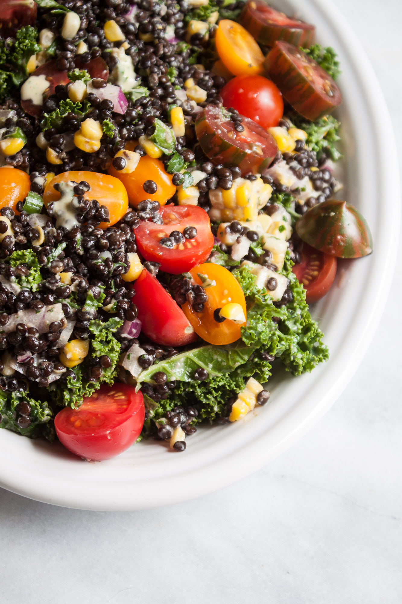 Sweet Corn + Beluga Lentil Salad with Honey Mustard Dressing