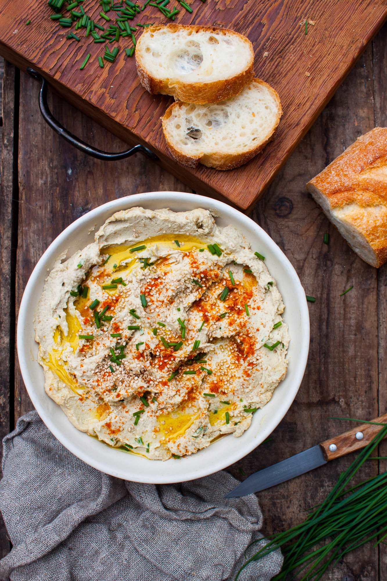 Cumin Spiced Lentil Hummus with Chives & Chiles