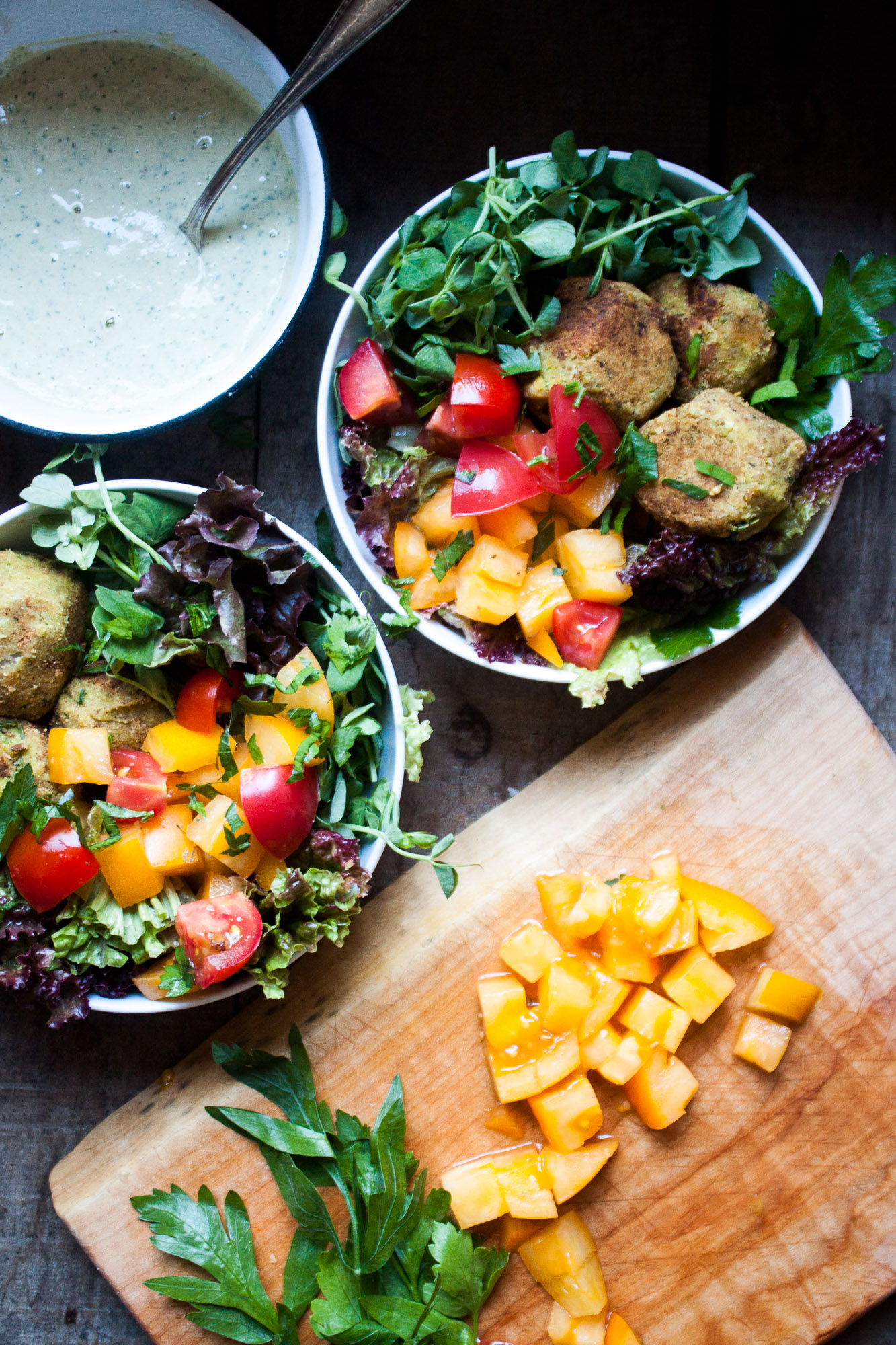 Chickpea Falafels with Parsley Tahini Sauce