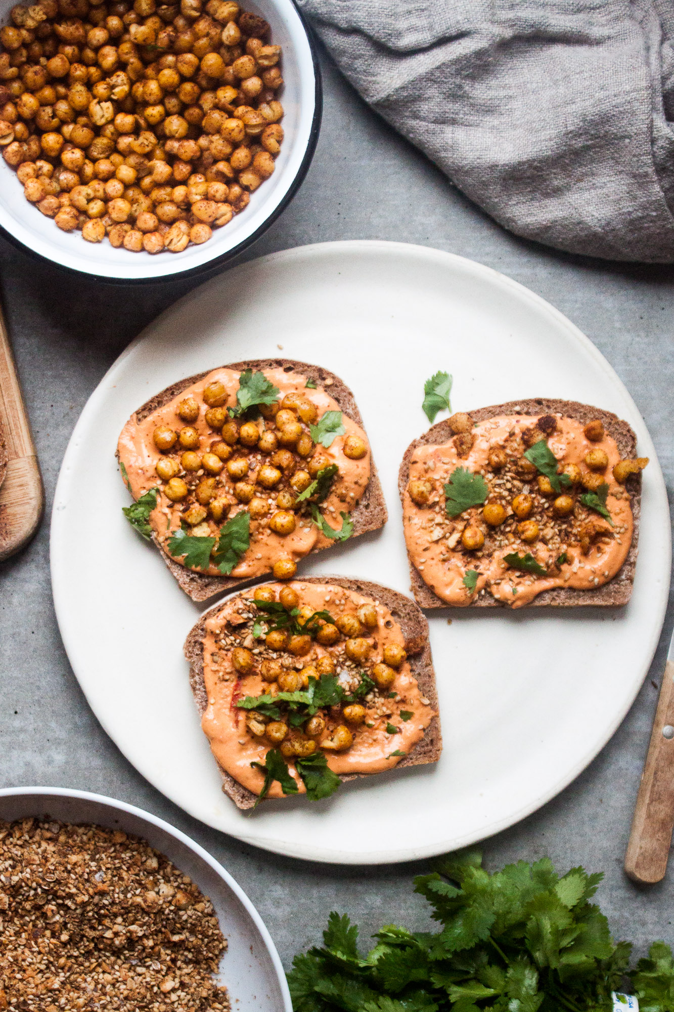 Open-Faced Toast with Crispy Chickpeas & Dukkah   in pursuit of more