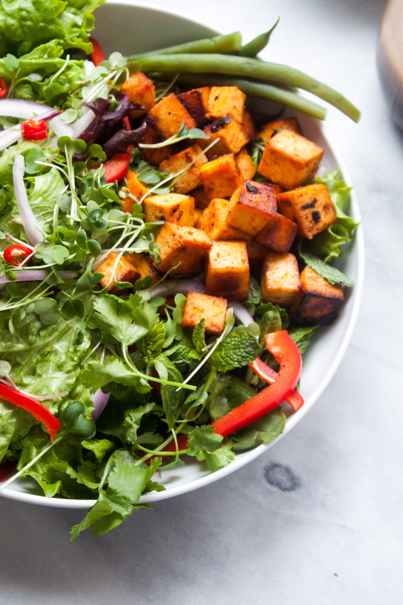 Fresh Herb & Green Salad with Baked Sriracha Tofu