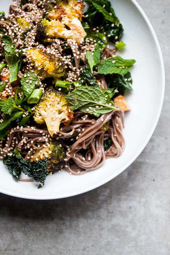 Spicy Roasted Broccoli & Sesame Noodle Salad