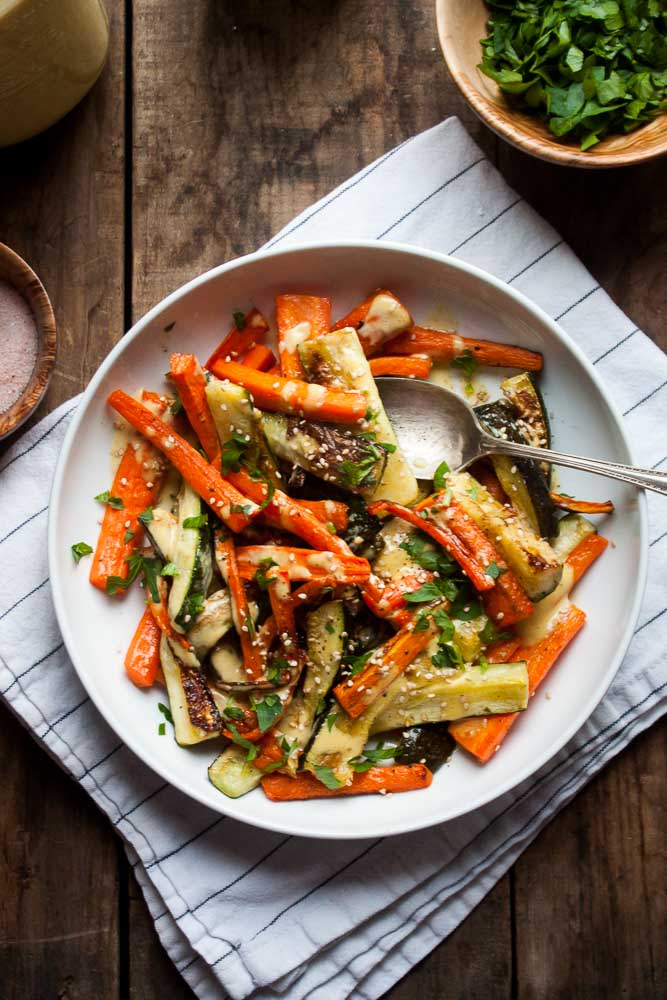 Roasted Carrots & Zucchini with Everyday Dressing